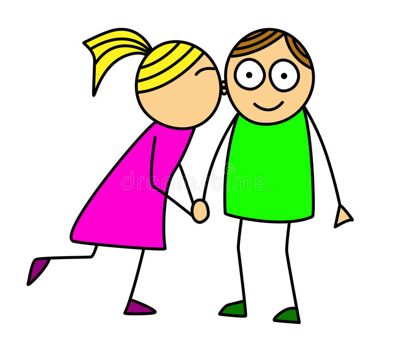 Kissing kids. Cartoon style illustration of stylized little kids kissing - isolated on white background stock illustration