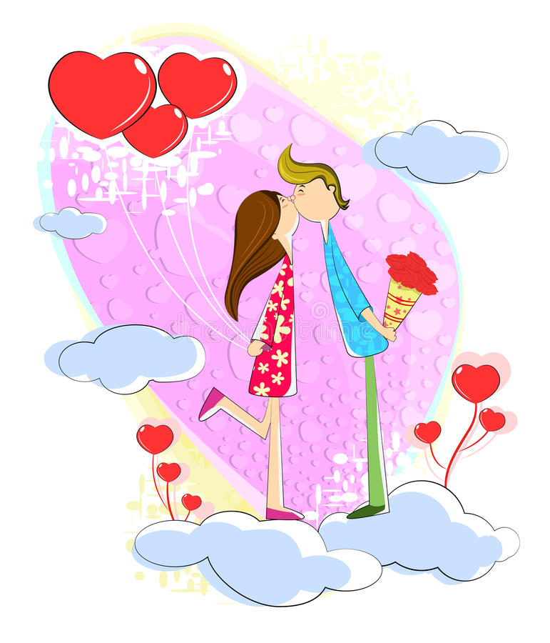 Kissing Love couple. Love couple kissing each other on cloud vector illustration