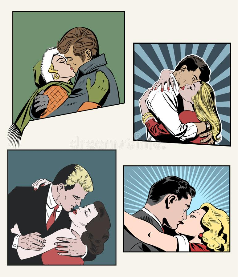 Kissing Lovers. Set of Vector Illustrations. Kissing Couple in Love Comic Book Style Illustrations stock illustration