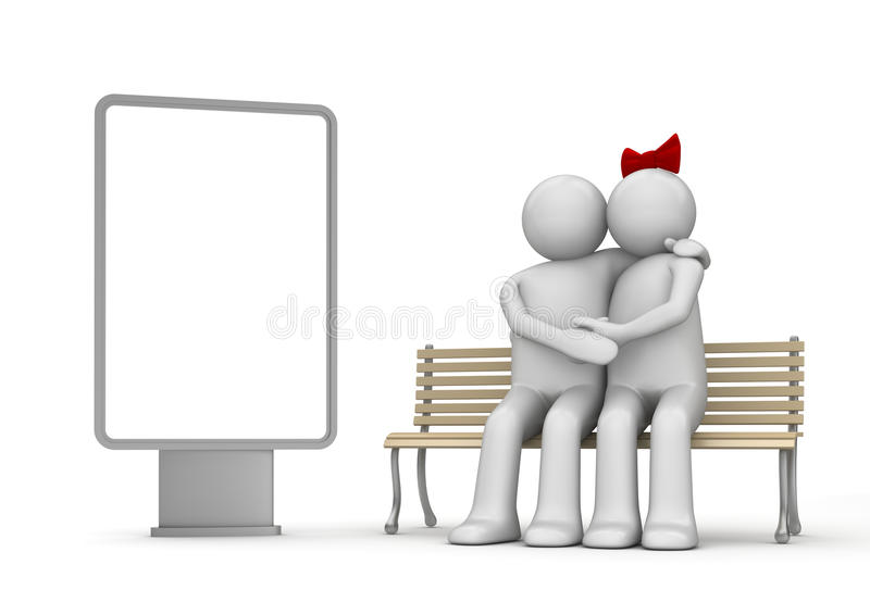 Kissing man and woman on a bench with copyspace stock image