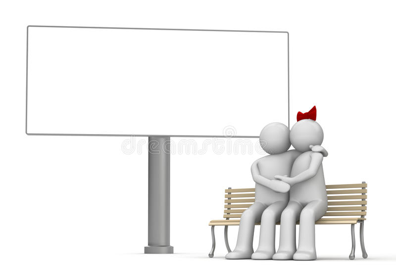 Download Kissing Man And Woman On A Bench With Copyspace Stock Illustration - Image: 12511207