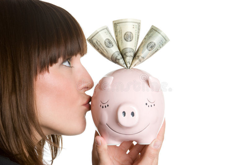 Kissing Piggy Bank royalty free stock image