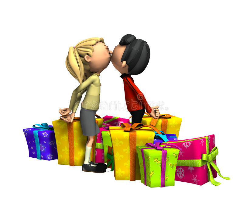 Kissing With Presents stock illustration