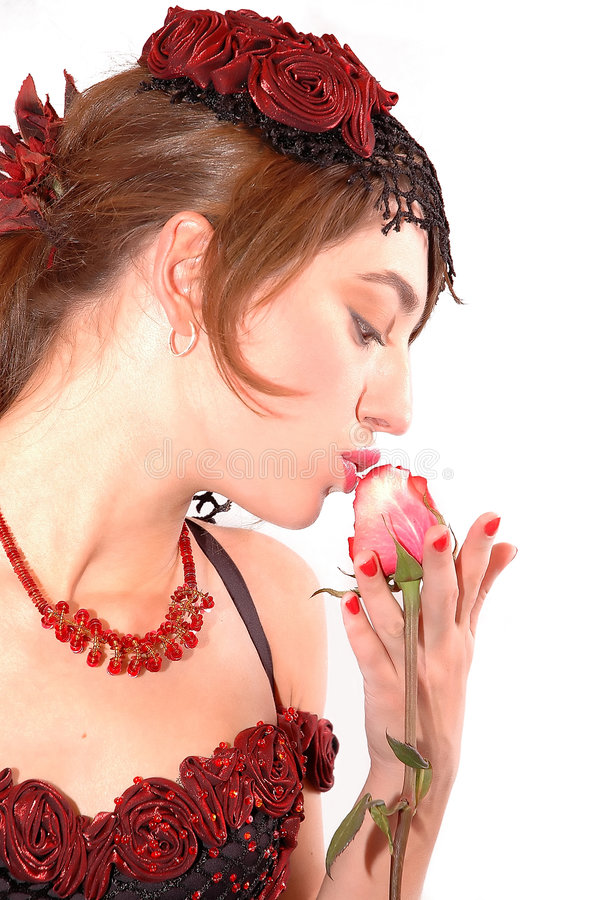 Download Kissing the rose stock image. Image of woman, isolated - 1422371