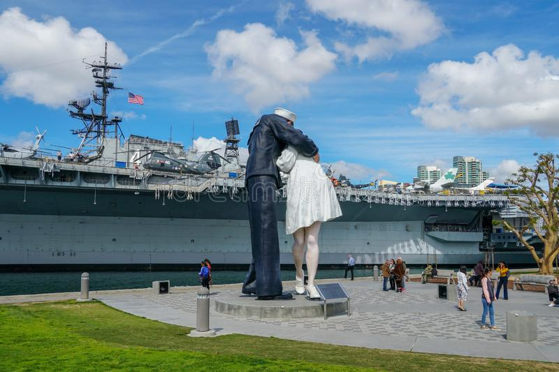 """Kissing sailor statue, Port of San Diego. Also known as """"Unconditional Surrender"""" recreates famous embrace between a sailor and a nurse celebrating royalty free stock image"""