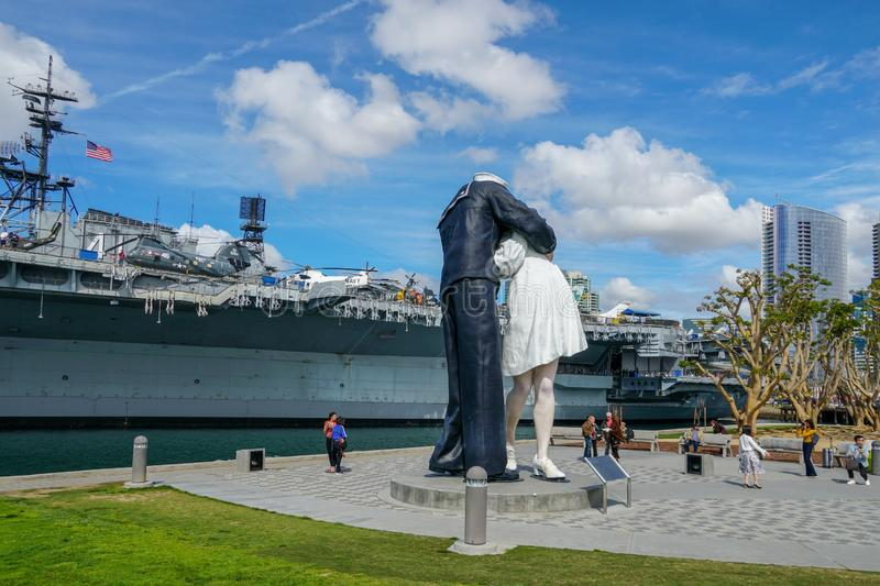 """Kissing sailor statue, Port of San Diego. Also known as """"Unconditional Surrender"""" recreates famous embrace between a sailor and a nurse celebrating royalty free stock photography"""