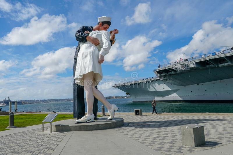 Kissing sailor statue, Port of San Diego. Also known as Unconditional Surrender. Recreates famous embrace between a sailor and a nurse celebrating the end of stock image
