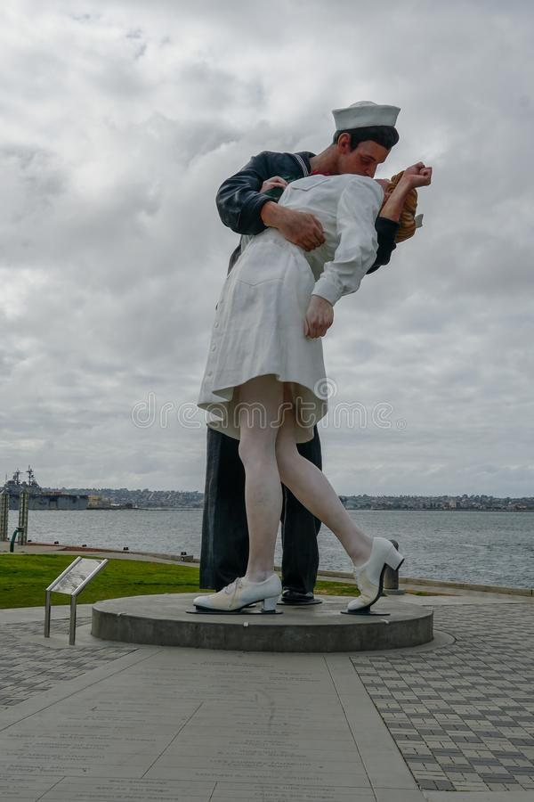 Kissing sailor statue, Port of San Diego. Also known as Unconditional Surrender. Recreates famous embrace between a sailor and a nurse celebrating the end of royalty free stock image