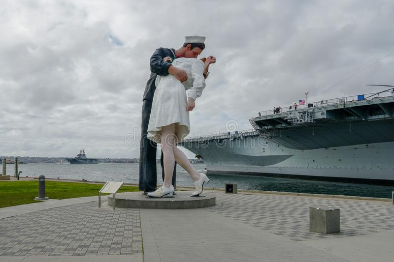 Kissing sailor statue, Port of San Diego. Also known as Unconditional Surrender. Recreates famous embrace between a sailor and a nurse celebrating the end of stock images