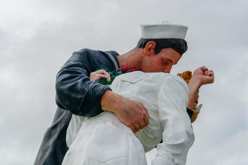 Kissing sailor statue, Port of San Diego. Also known as Unconditional Surrender. Recreates famous embrace between a sailor and a nurse celebrating the end of royalty free stock photo