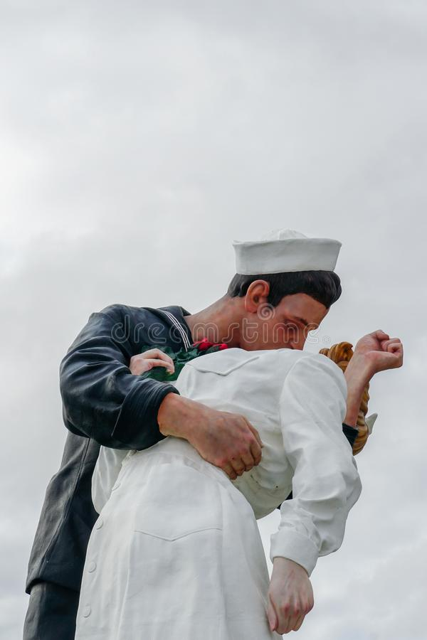 Kissing sailor statue, Port of San Diego. Also known as Unconditional Surrender. Recreates famous embrace between a sailor and a nurse celebrating the end of royalty free stock photos