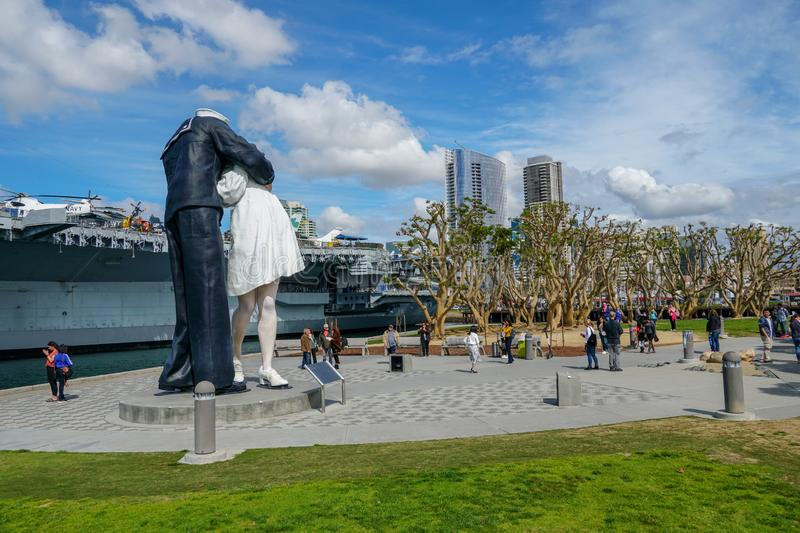 """Kissing sailor statue, Port of San Diego. Also known as""""Unconditional Surrender recreates famous embrace between a sailor and a nurse celebrating the end royalty free stock photo"""