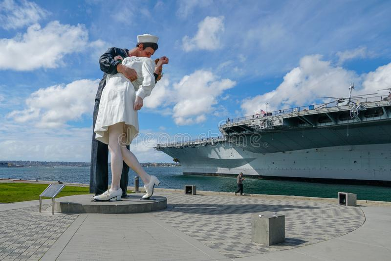 Kissing sailor statue, Port of San Diego. Also known as Unconditional Surrender. Recreates famous embrace between a sailor and a nurse celebrating the end of royalty free stock images