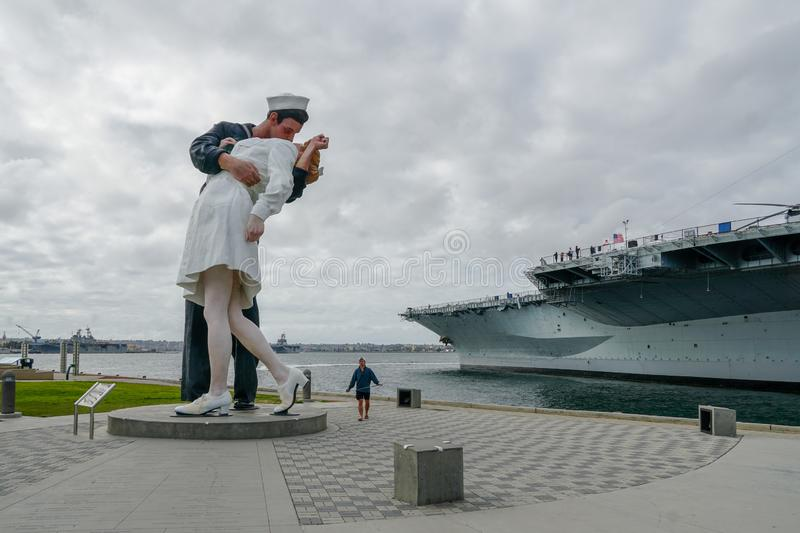 Kissing sailor statue, Port of San Diego. Also known as Unconditional Surrender. Recreates famous embrace between a sailor and a nurse celebrating the end of stock photos