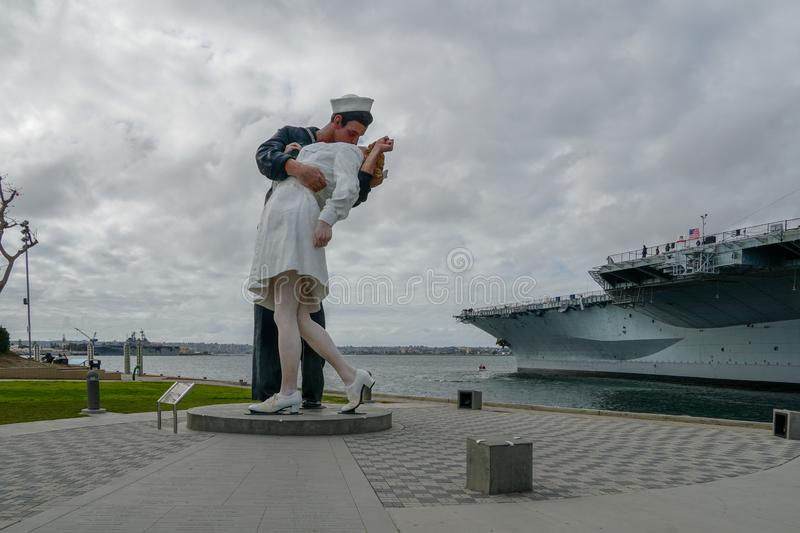 Kissing sailor statue, Port of San Diego. Also known as Unconditional Surrender. Recreates famous embrace between a sailor and a nurse celebrating the end of royalty free stock photography