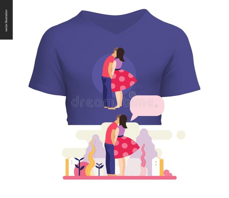 Kissing scene composition t-shirt design. Kissing scene - flat cartoon vector illustration of young couple, boyfriend and girlfriend, kissing, romantic scene stock illustration