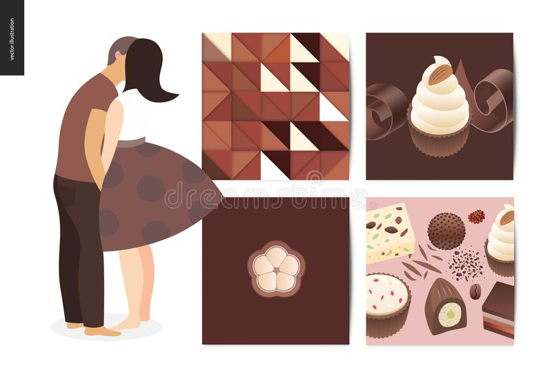 Kissing scene postcard composition. Kissing scene - flat cartoon vector illustration of young couple kissing, chocolate, romantic scene, white sweet cupcakes vector illustration