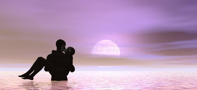 Kissing at sunrise stock illustration