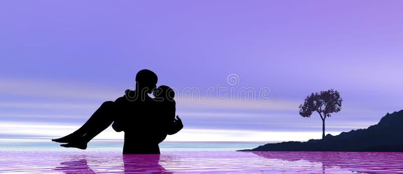 Kissing at sunrise vector illustration