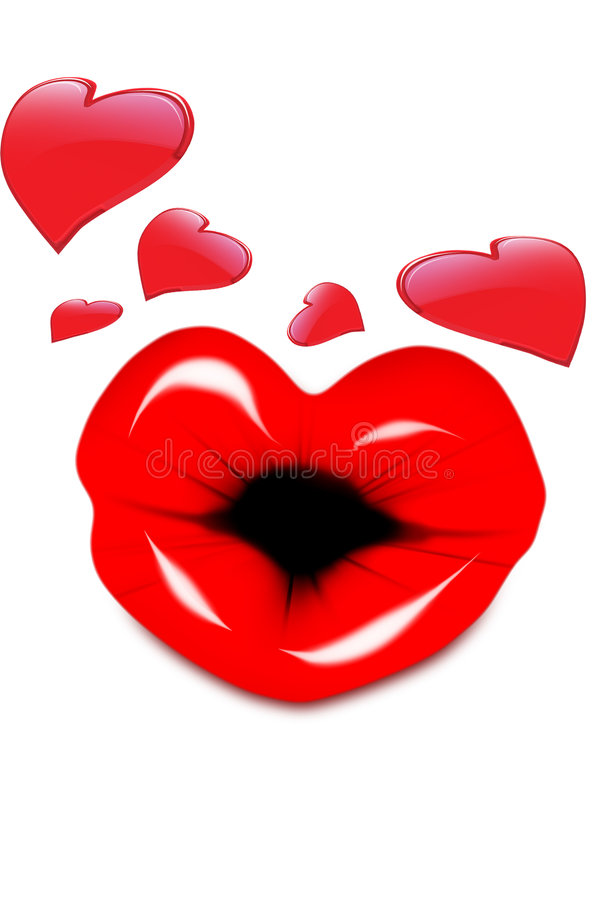 Kissing Valentine. Shinny valentine hearts with puckerd kissing lips vector illustration