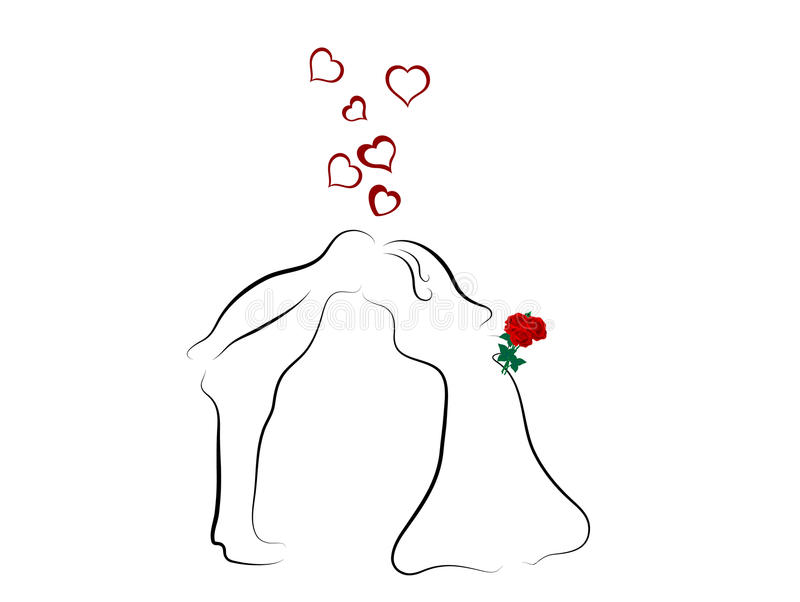 Kissing wedding couple stock illustration