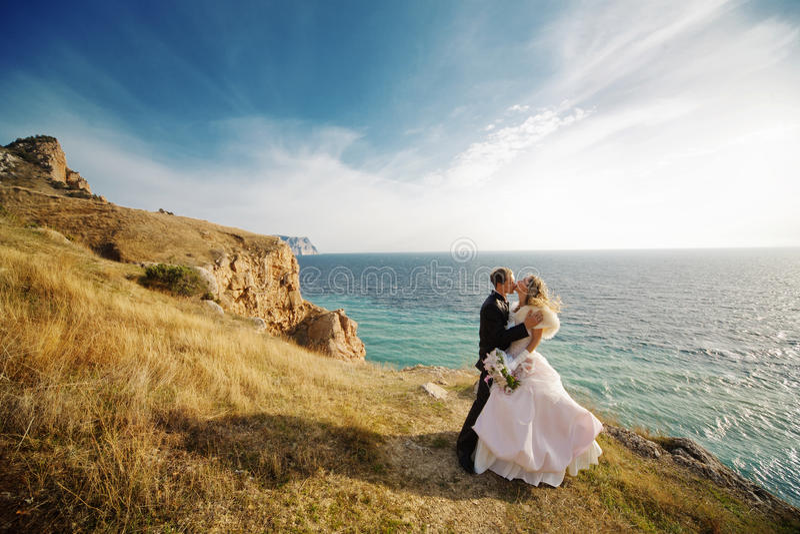 Kissing Wedding Couple Royalty Free Stock Image