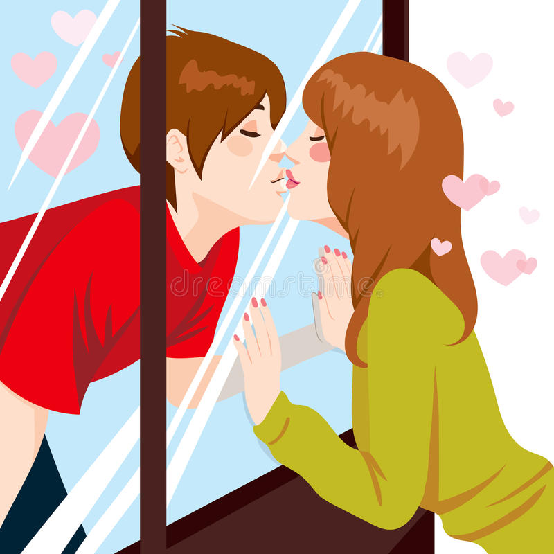 Kissing Through Window. Cute young couple Kissing through glass window with love stock illustration