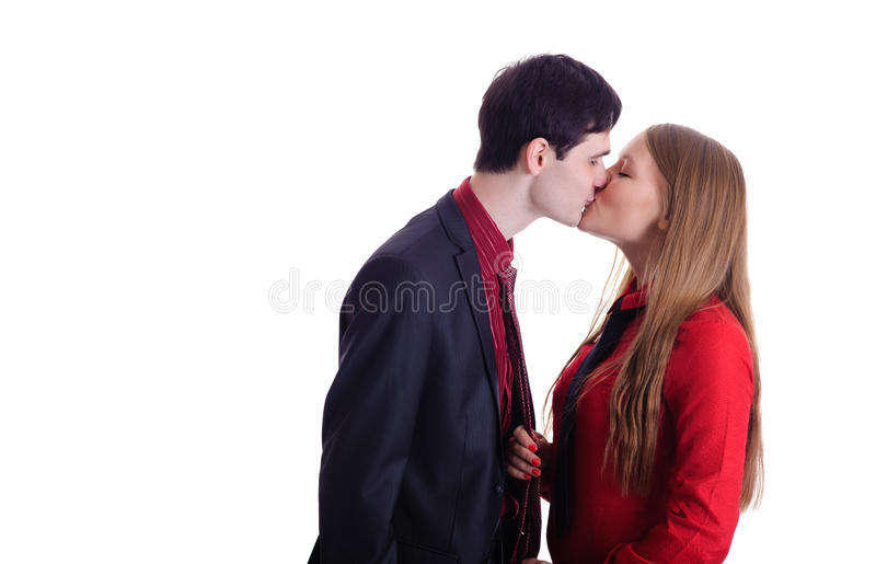Kissing young couple stock image