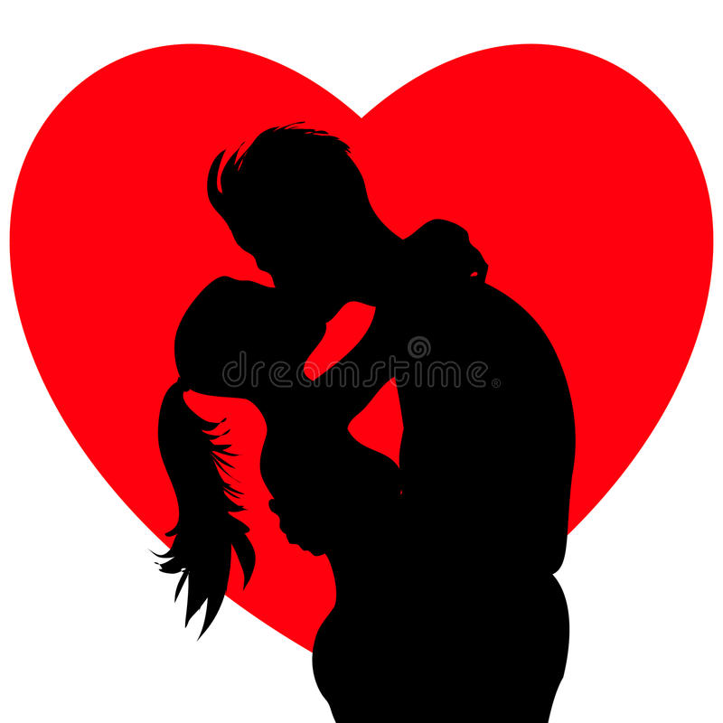 Kissing young couple. Romantic kissing young couple silhouette royalty free illustration