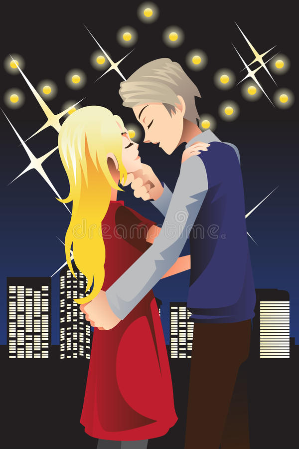 Kissing young couple. A vector illustration of a romantic young couple kissing vector illustration