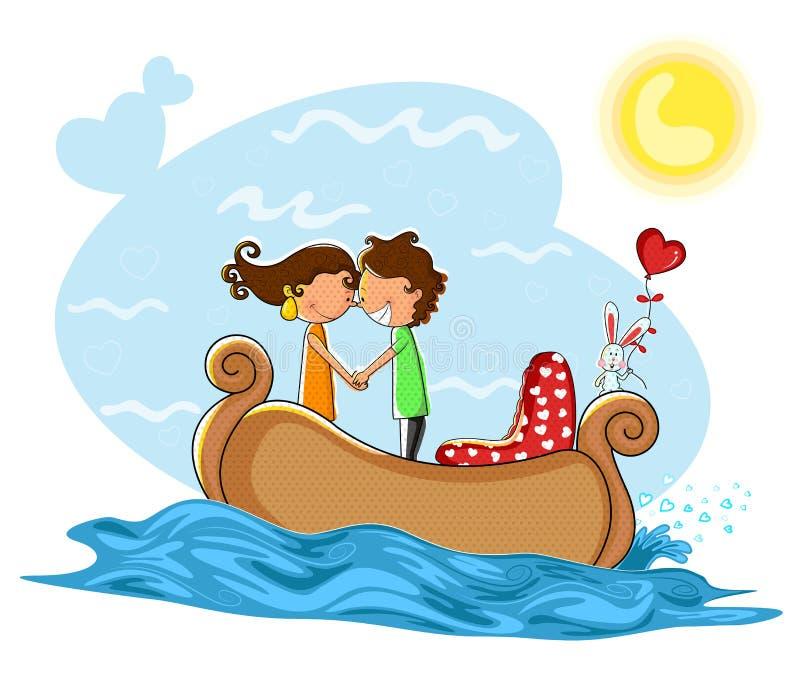 Kissng de los pares del amor en barco libre illustration