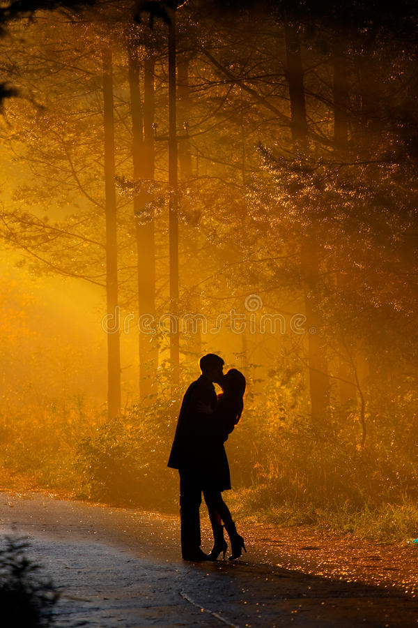 Kisssing couple royalty free stock photo