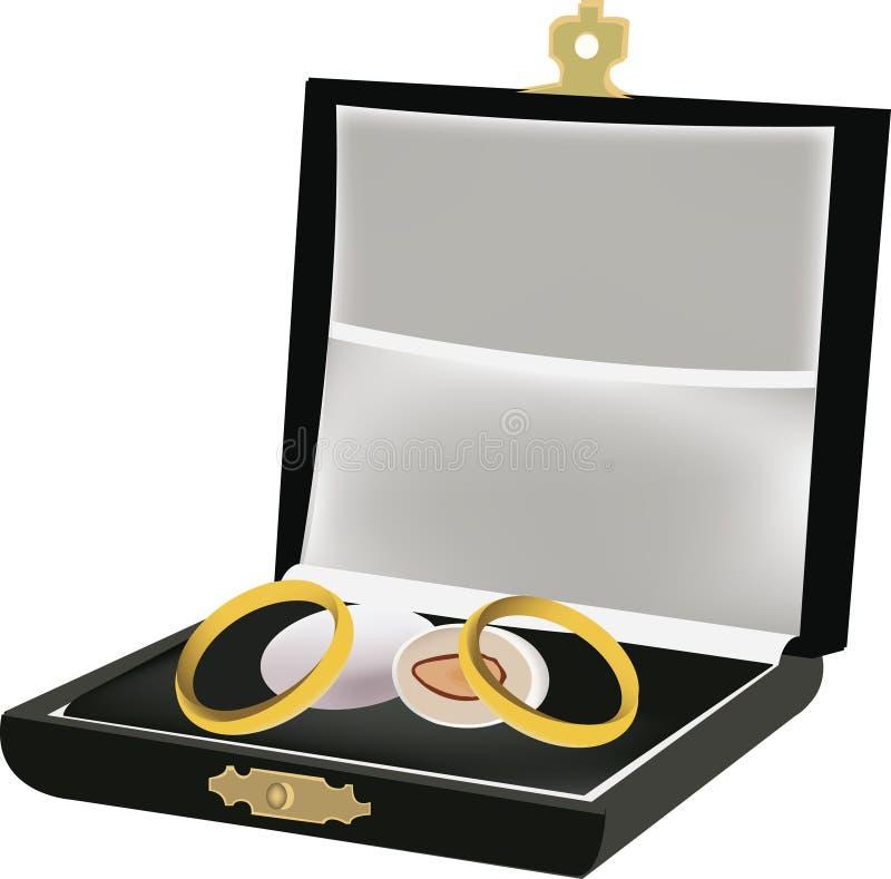 Kist met trouwringen en suikergoed stock illustratie