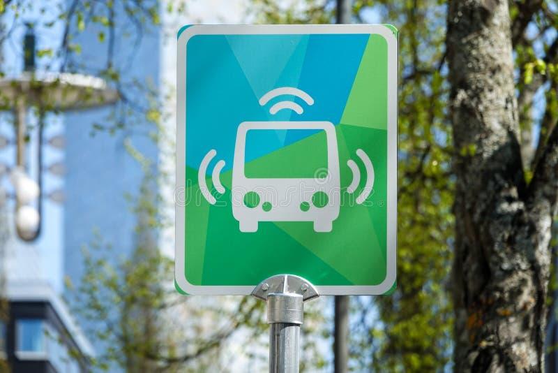 Bus stop for smart Autonomous bus. Kista, Stockholm, Sweden - May 8, 2018: Bus stop for Autonomous bus / car / vehicle stock photos