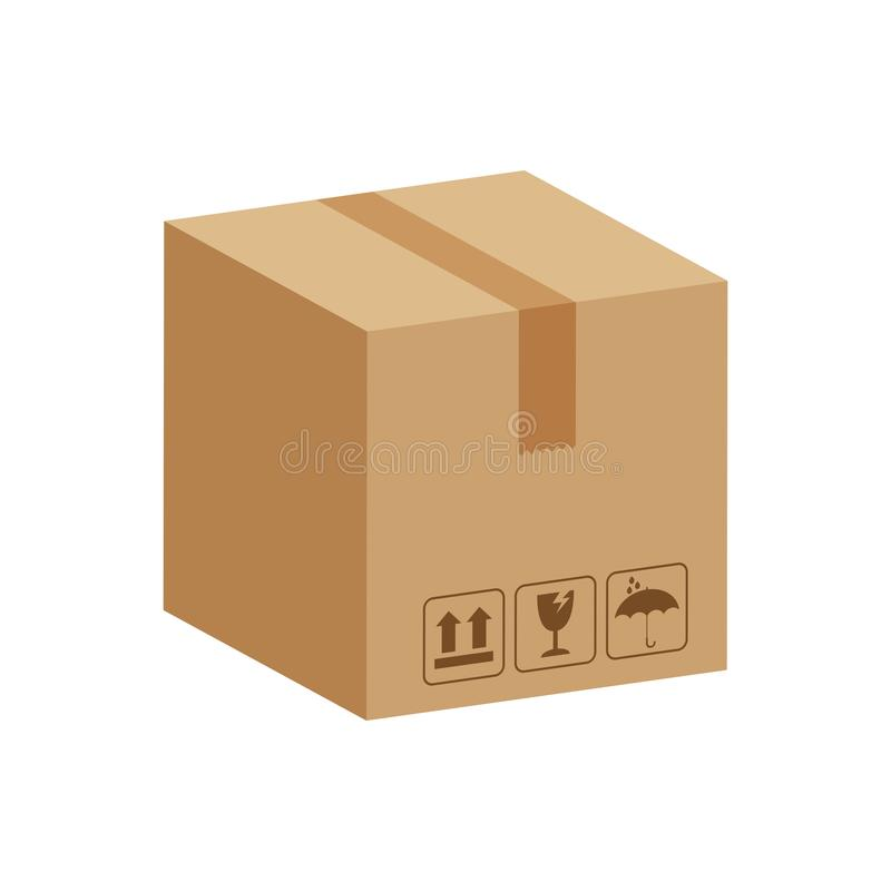 Kistenkästen 3d, Pappschachtelbraun, flache Artpapppaketkästen, Verpackenfracht, isometrische Kästen braun, Verpackenkasten vektor abbildung