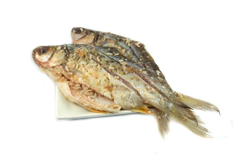 Kiszona ryba na talerzu zdjęcia stock