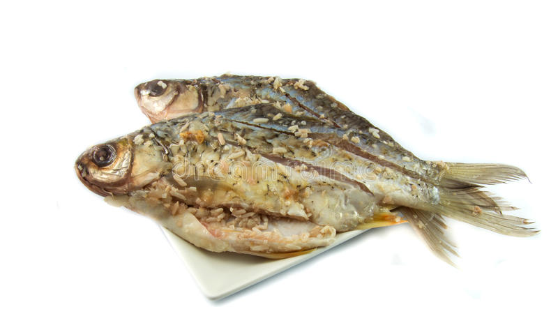Kiszona ryba na talerzu obraz stock