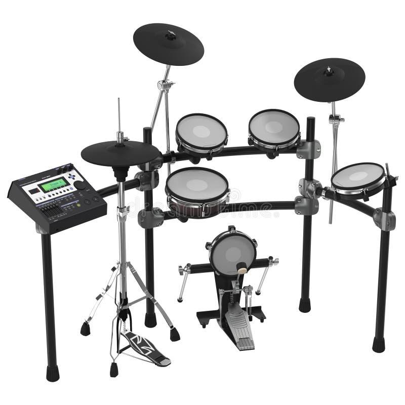 Kit électronique de tambour sur le blanc illustration 3D illustration stock