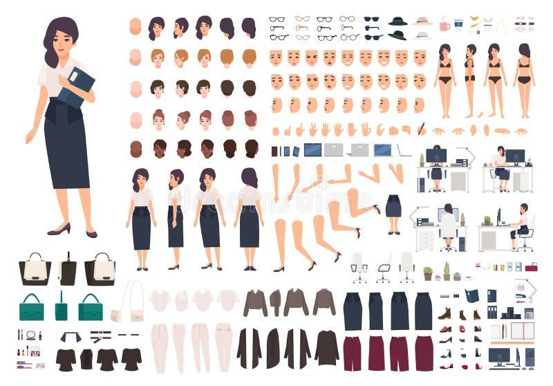 Kit auxiliaire femelle d'animation de secrétaire ou de bureau Paquet de parties du corps du ` s de femme, gestes, postures, vêtem illustration libre de droits