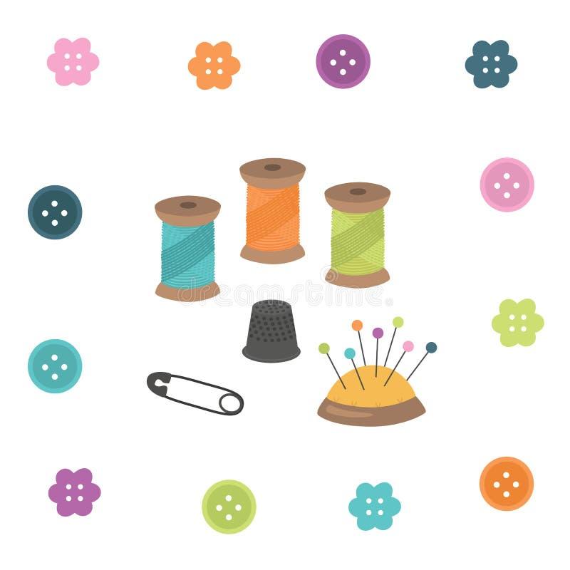 kit bawełny igła szwalny naparstek Nić, naparstek, igła, szpilka, guzik ilustracja wektor