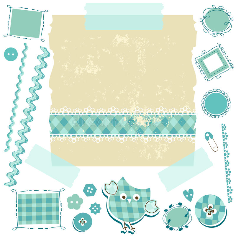 Kit blu dell'album per ritagli illustrazione di stock