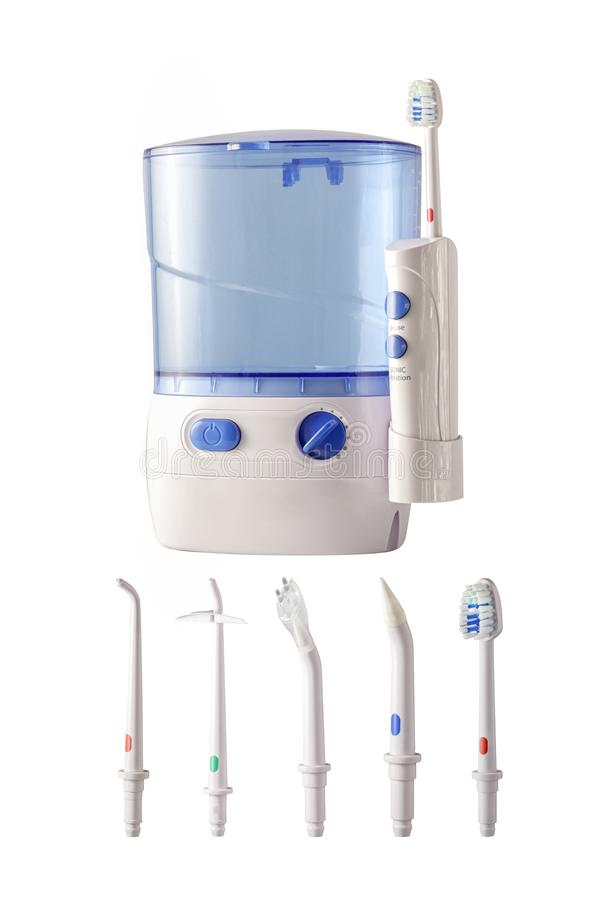 Kit for cleaning teeth on a white background royalty free stock photos