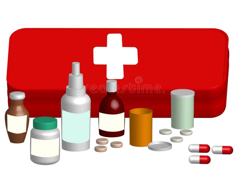 Kit d'aide d'illustration avec la tablette de médecine illustration de vecteur