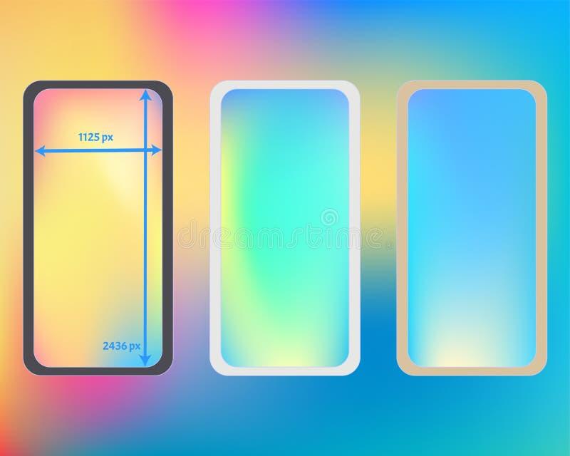 Kit d'arrière-plans de téléphone à maillage multicolore illustration stock