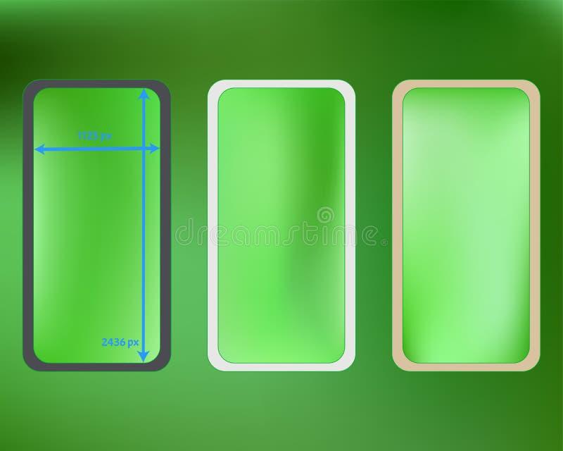 Kit d'arrière-plans de téléphone en maille, couleur citron illustration stock