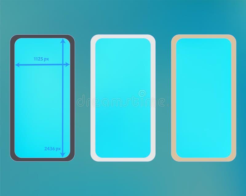 Kit d'arrière-plans de téléphone en maille de couleur cyan illustration stock