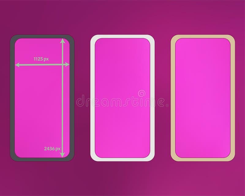 Kit d'arrière-plans de téléphone en maille, couleur magenta illustration stock