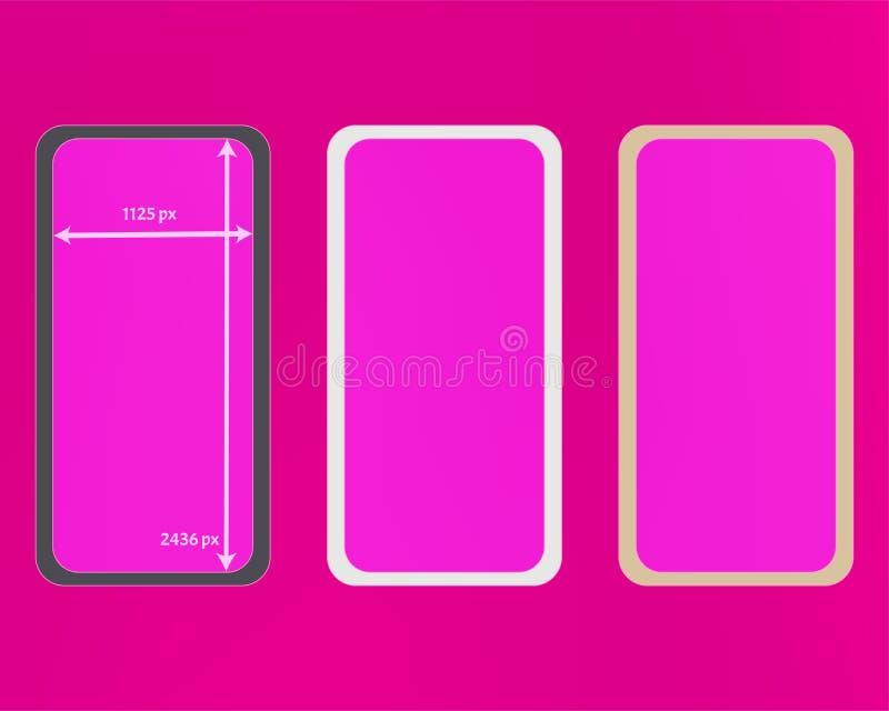 Kit d'arrière-plans de téléphone en maille rose illustration de vecteur