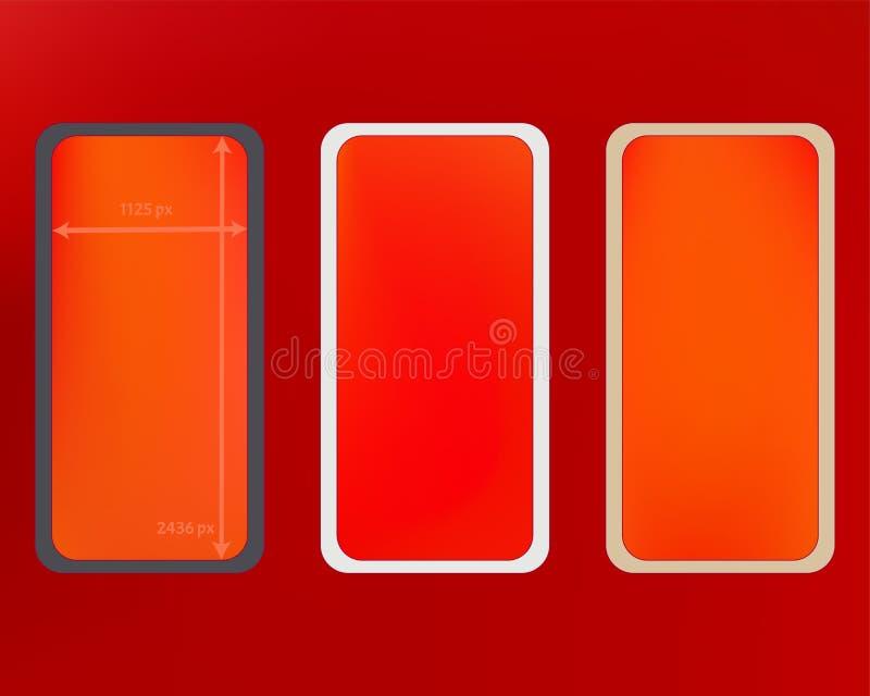 Kit d'arrière-plans de téléphone en maille rouge illustration libre de droits