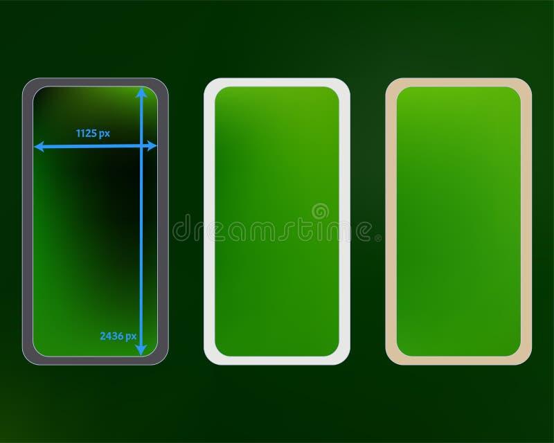 Kit d'arrière-plans de téléphone en maille vert illustration stock
